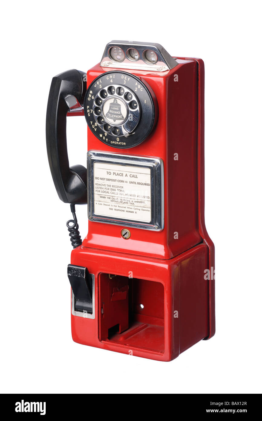 Vintage American red public telephone box - Stock Image