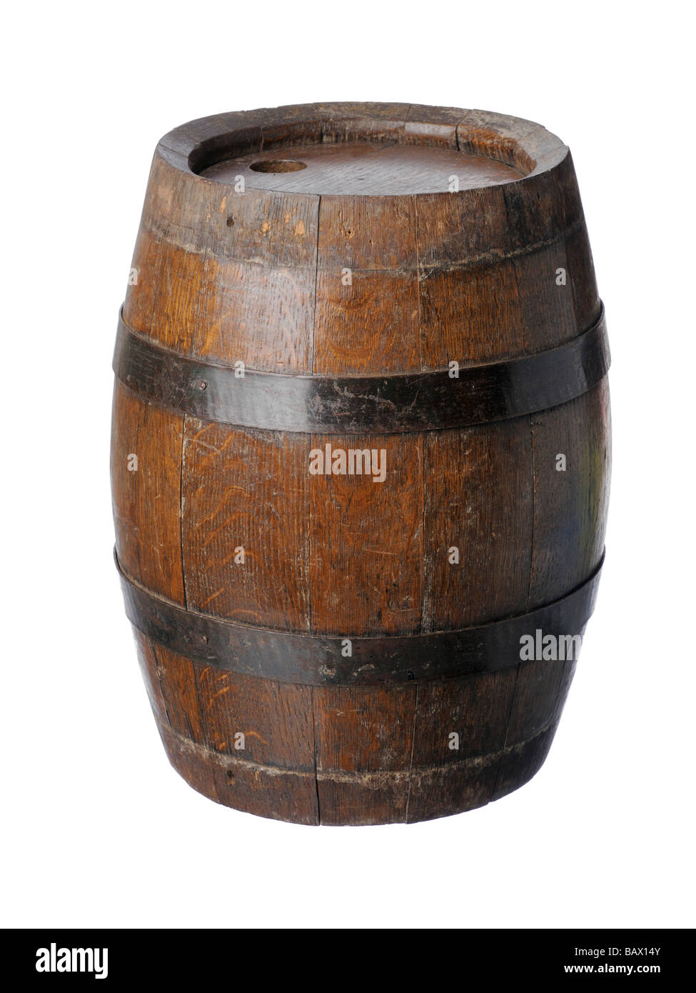small wooden keg barrel - Stock Image