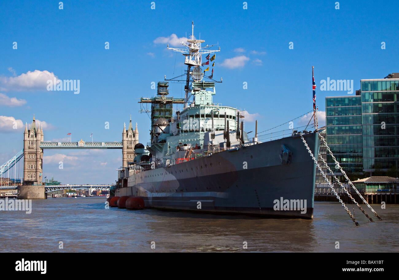 HMS Belfast and Tower Bridge, London, England - Stock Image