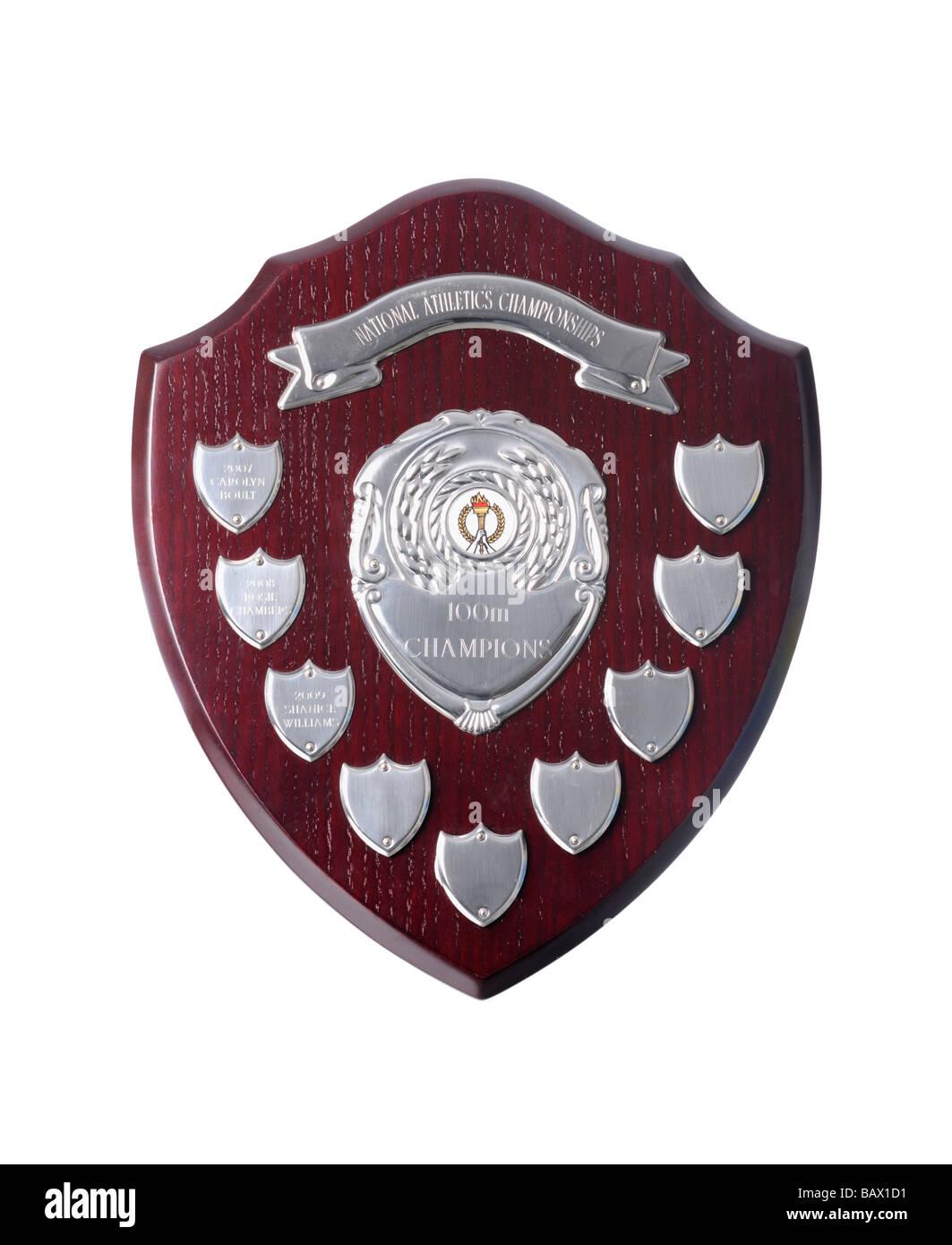 Wooden award shield - Stock Image
