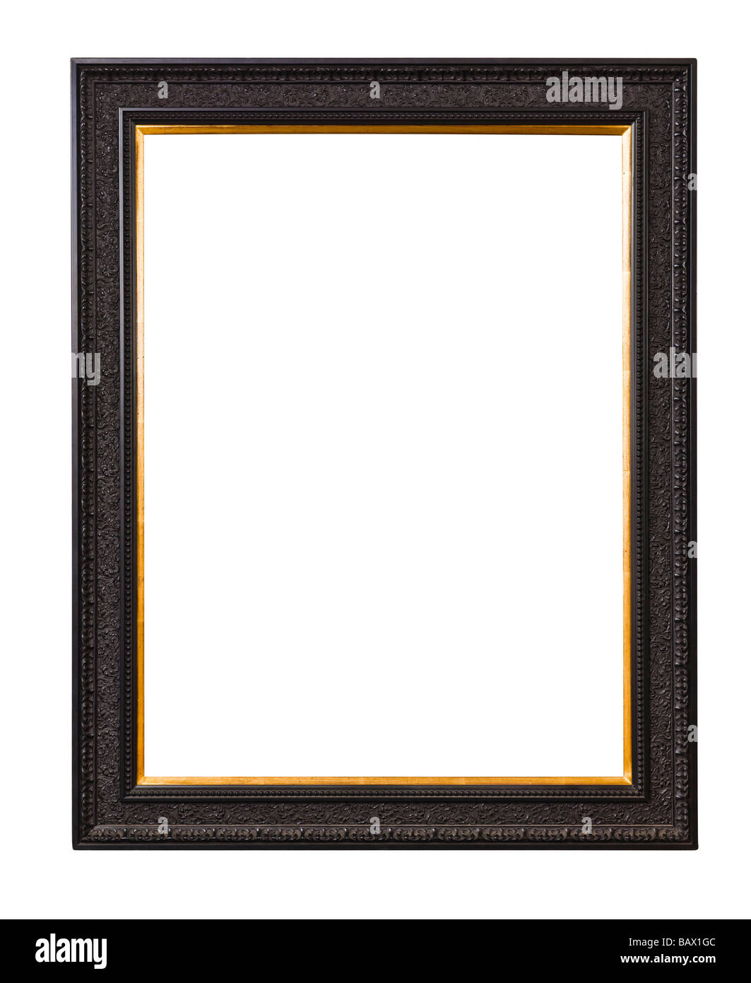 Ornate wooden picture frame - Stock Image
