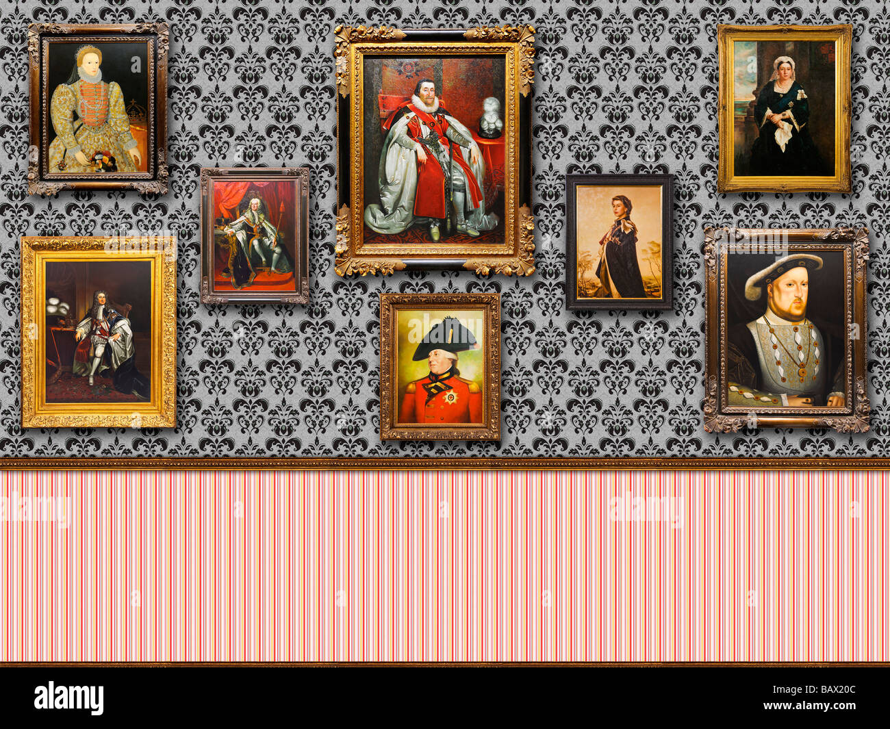 Floral wallpaper wall of British Royalty portraits in ornate frames - Stock Image