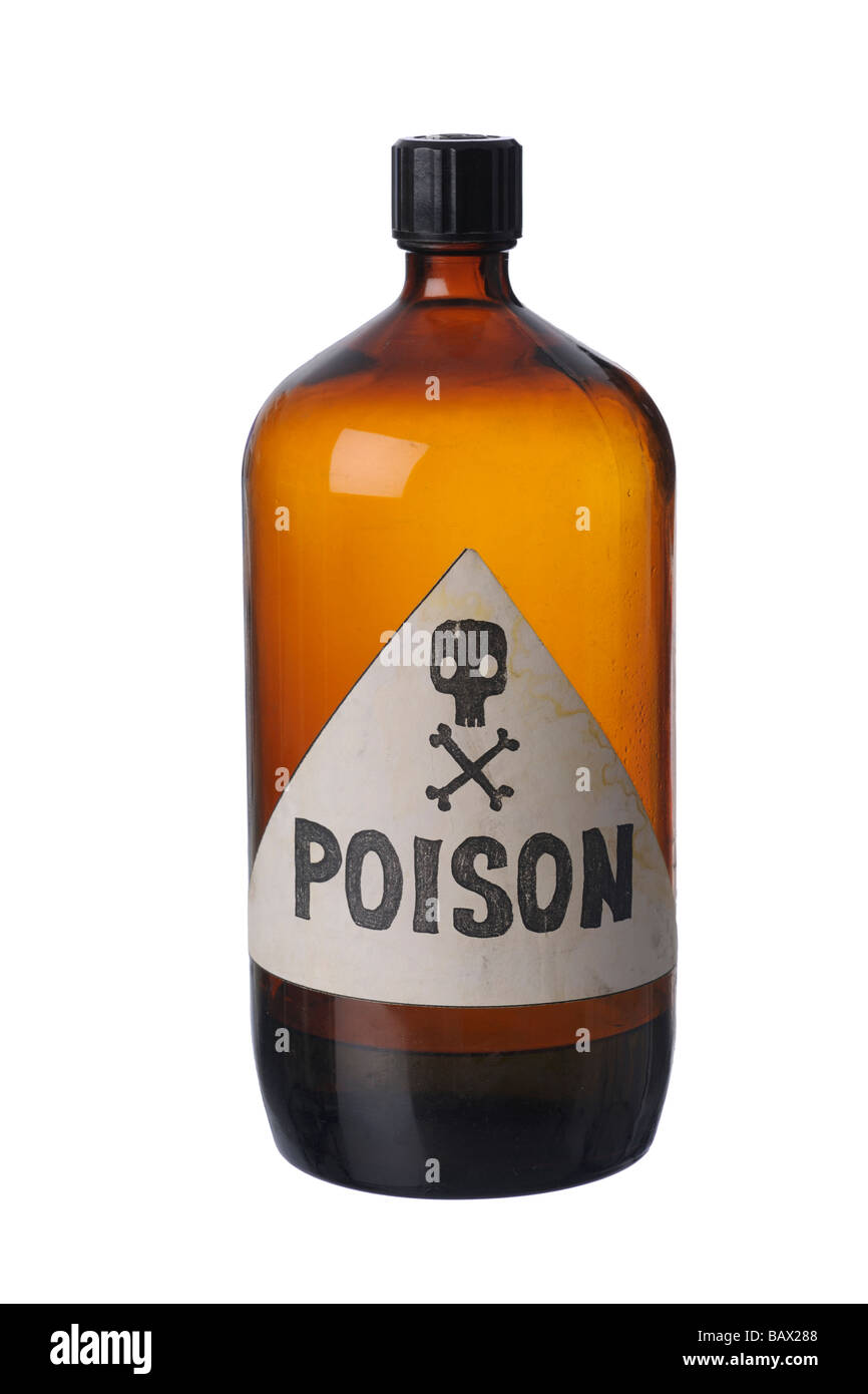 Brown poison bottle - Stock Image