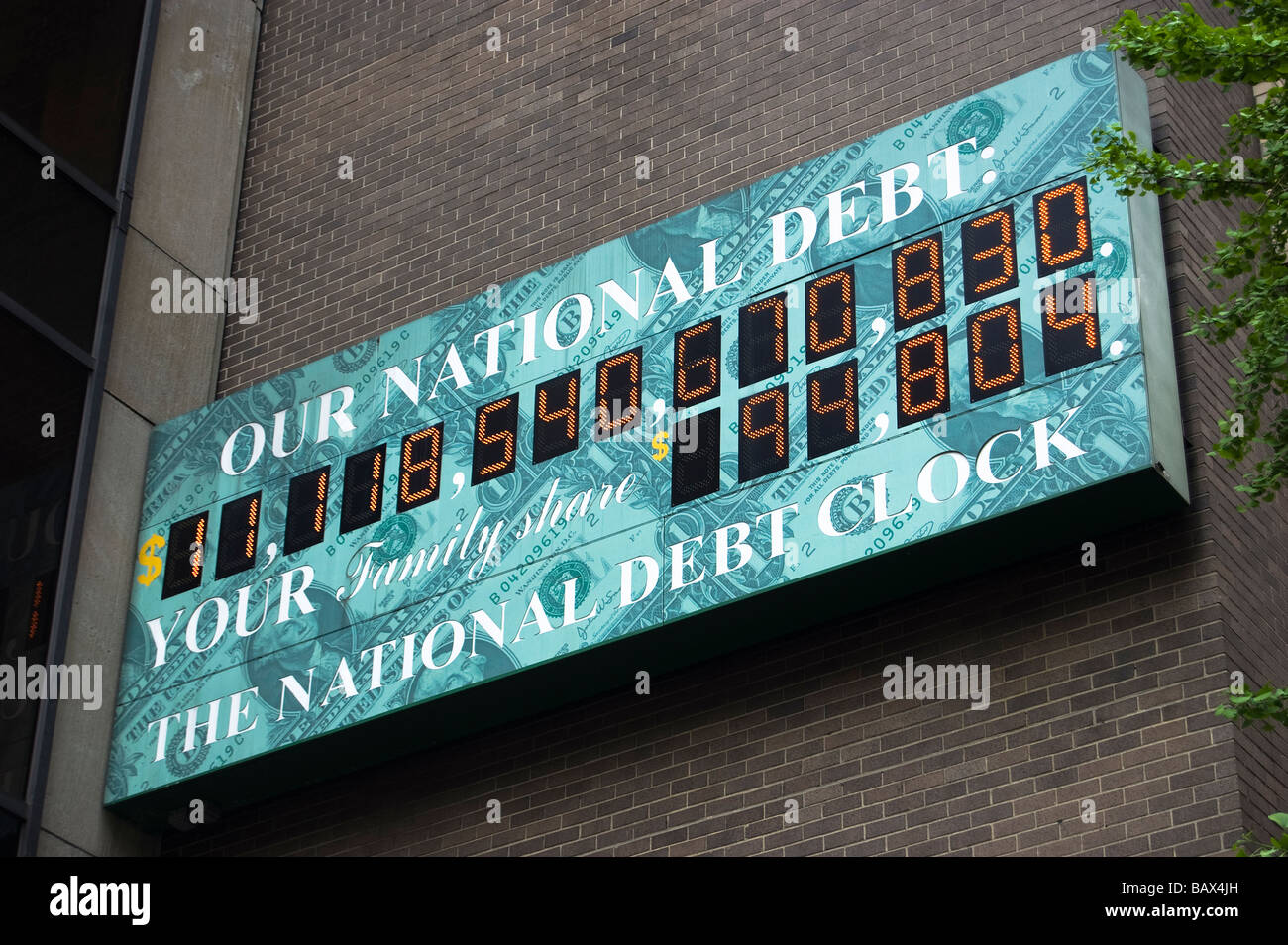 National Debt Clock in New York City, taken on May 06, 2009, showing over $11 Trillion in national debt (Editorial - Stock Image