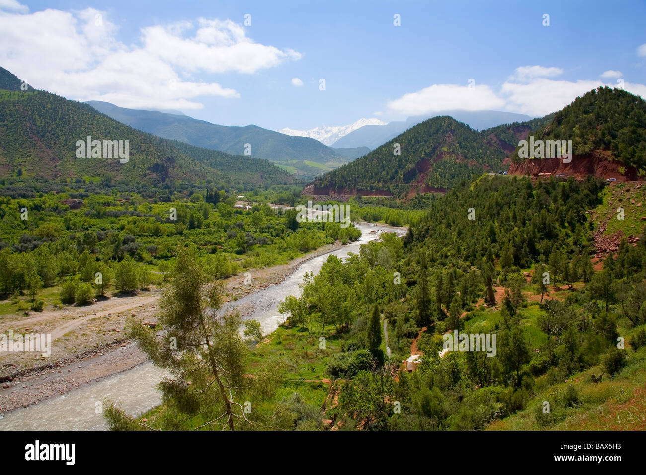Snow on the mountains springtime in the Ourika Valley Morocco near Marrakech - Stock Image