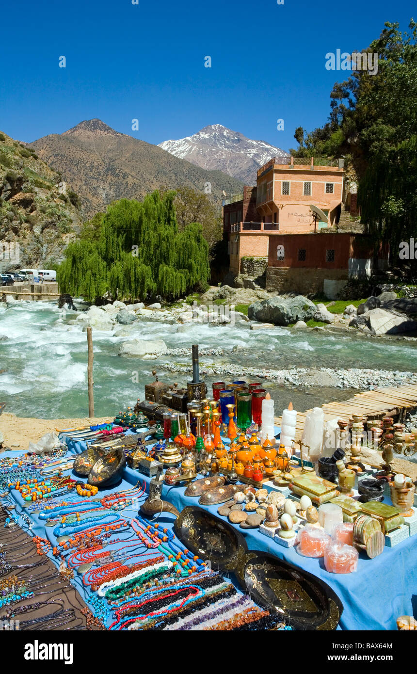 Snow on the mountains in Setti Fatma Ourika Valley Morocco Stock Photo