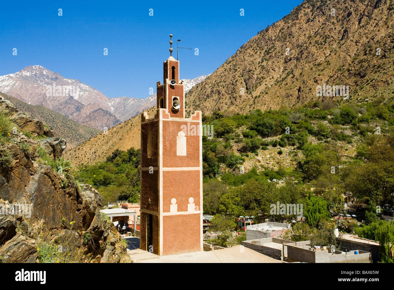 Mosque at village of Setti Fatma in the Ourika Valley Morocco Stock Photo
