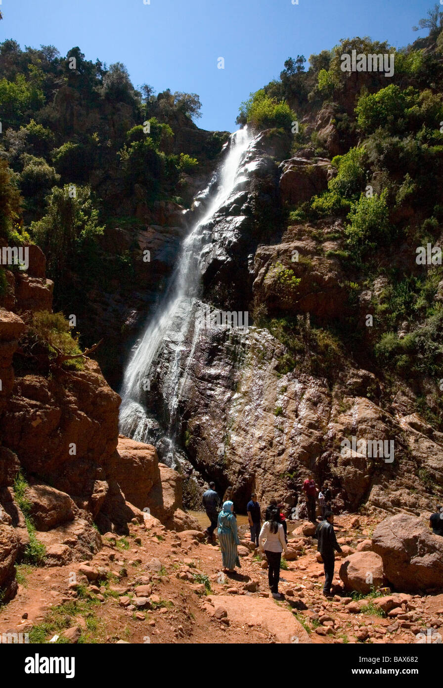 Waterfalls in the Ourika Valley Morocco near Marrakech - Stock Image