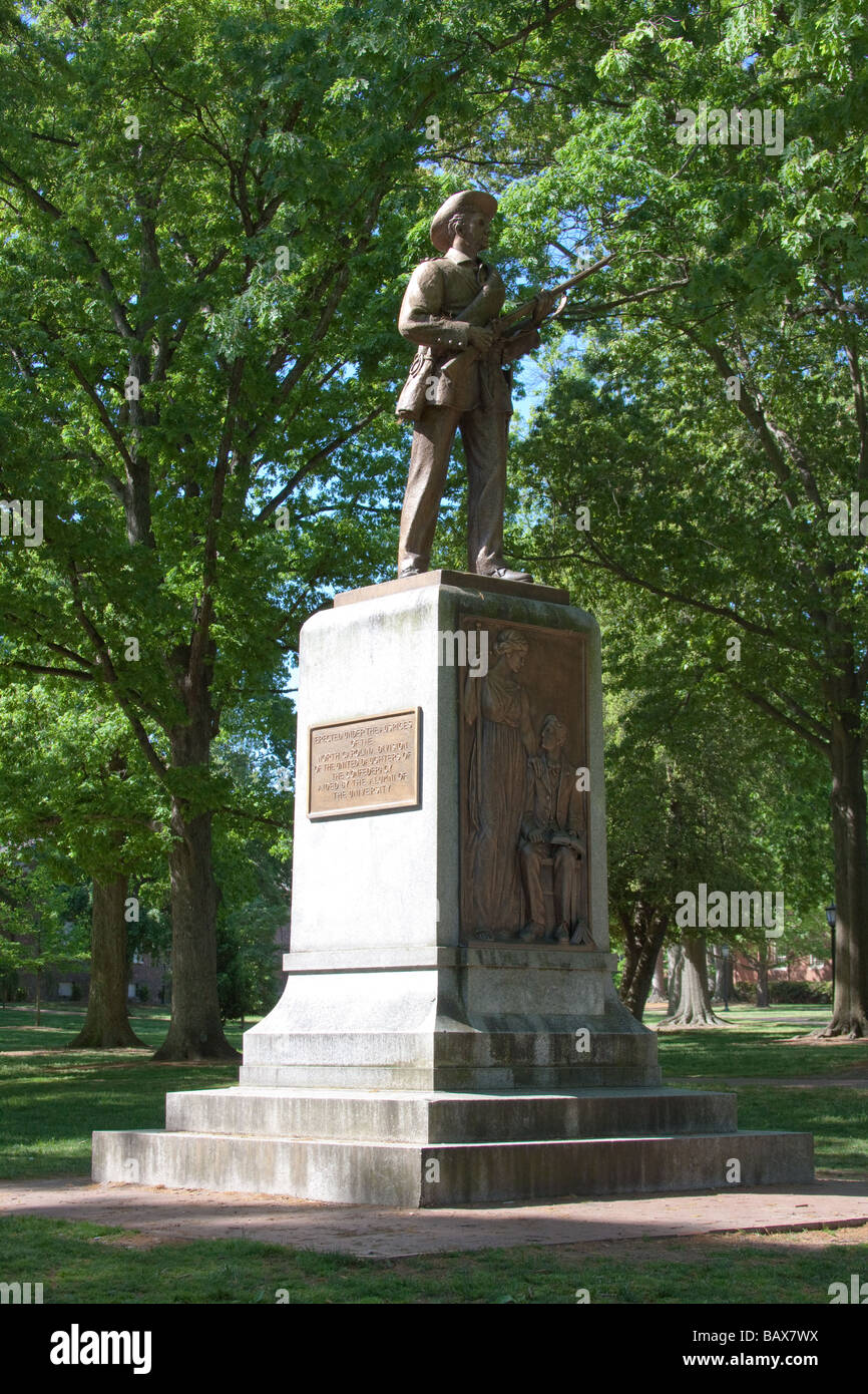 'Silent Sam' Confederate Soldier Statue, University of North Carolina, Chapel Hill - Stock Image