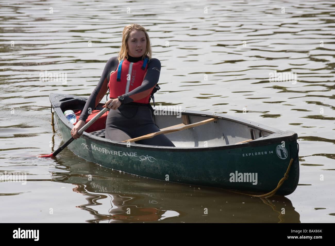 water sport canadian canoe canoeist river medway yalding kent england uk europe - Stock Image