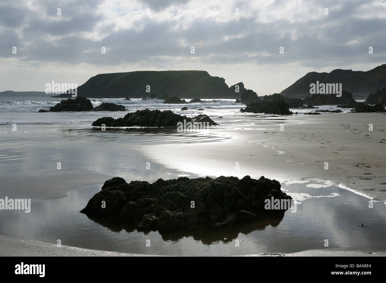 Marloes Sands beach in evening light Pembrokeshire Cymru Wales UK - Stock Image