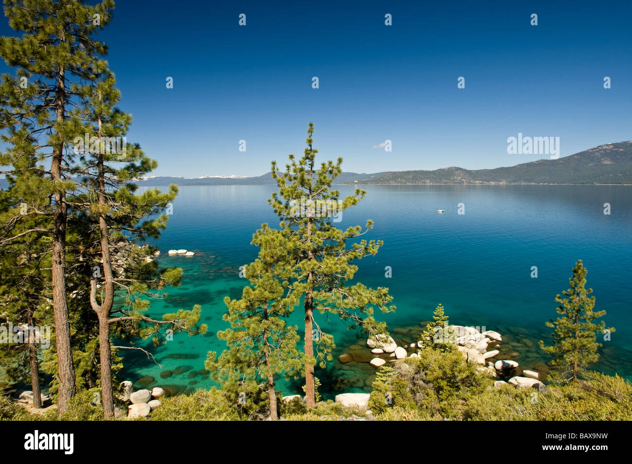 Clear blue waters of Lake Tahoe, California. - Stock Image