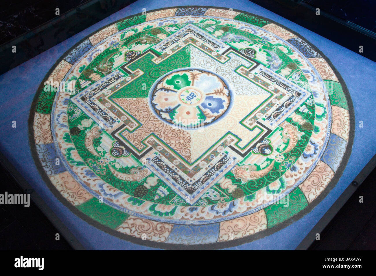 Mandala handmade in sand by Himalayan monks - Stock Image