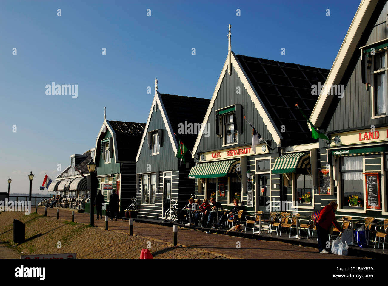 Old Dutch Houses In The Harbor Of Marken A Small Village Near Stock