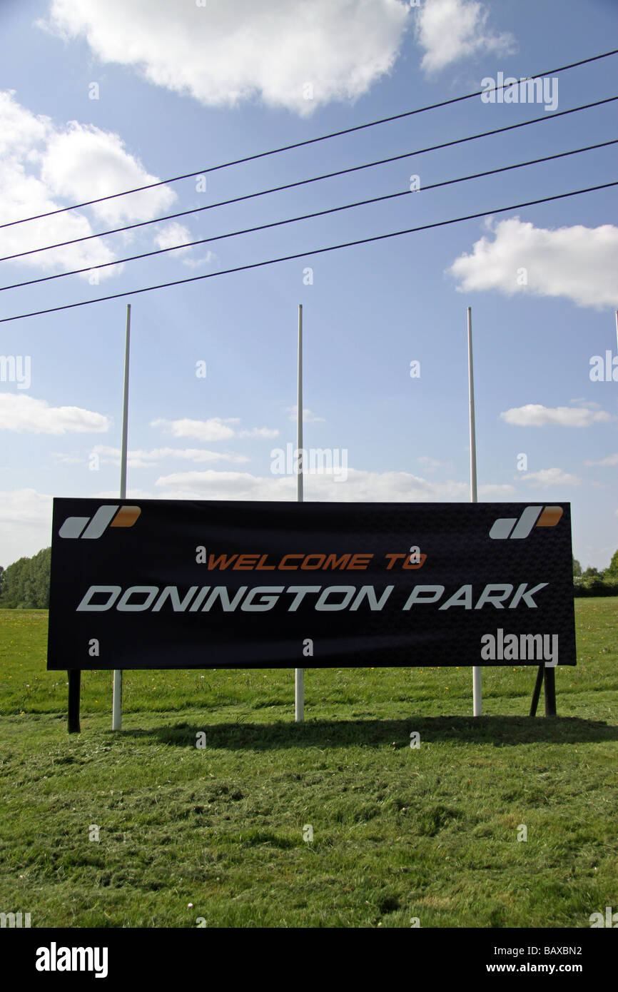 'Welcome to Donington Park' sign at the entrance to the Motor Racing Circuit in the East Midlands, Leicestershire. Stock Photo
