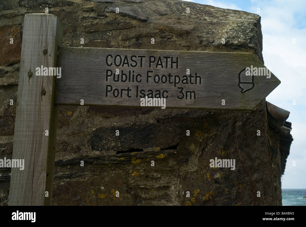 Signpost for the South-West Coast Path at Port Quin, Cornwall - Stock Image