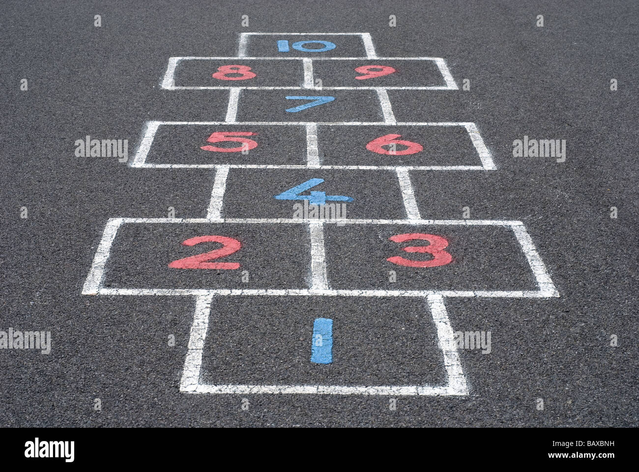 Numbers on a hopscotch grid - Stock Image