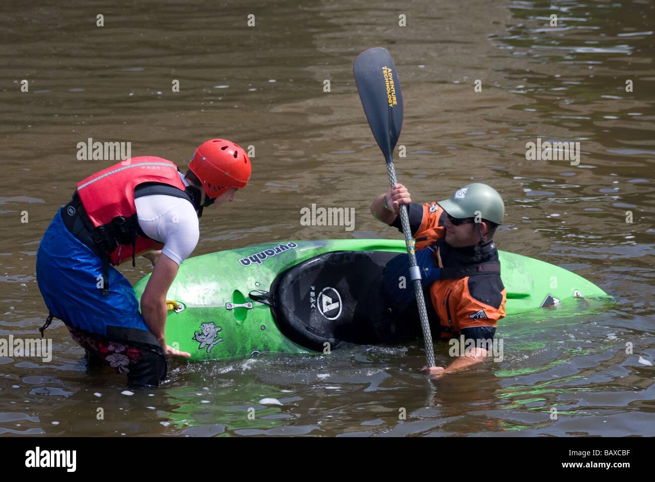 water sport kayak kayaking whitewater training river medway yalding kent england uk europe - Stock Image