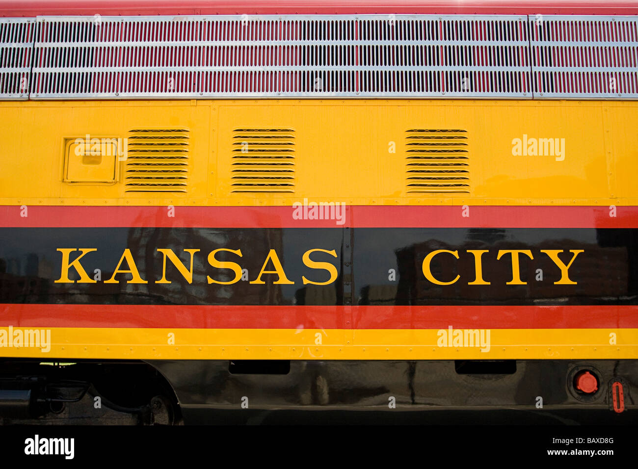 Kansas City, Missouri, USA; Side of locomotive engine - Stock Image