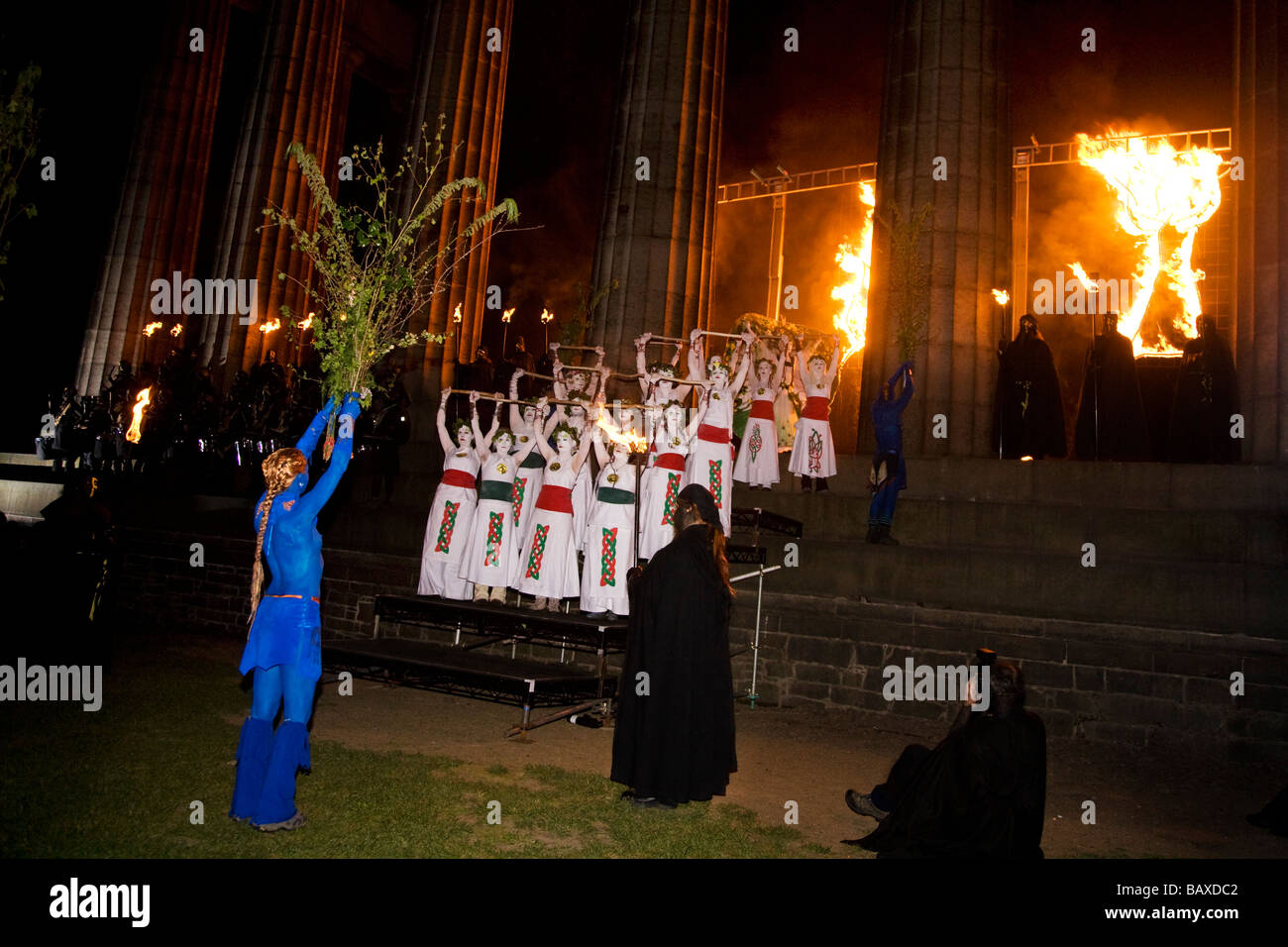 The Beltane Fire Festival on Calton Hill an ancient Celtic and Pagan festival, City of Edinburgh, Scotland. - Stock Image