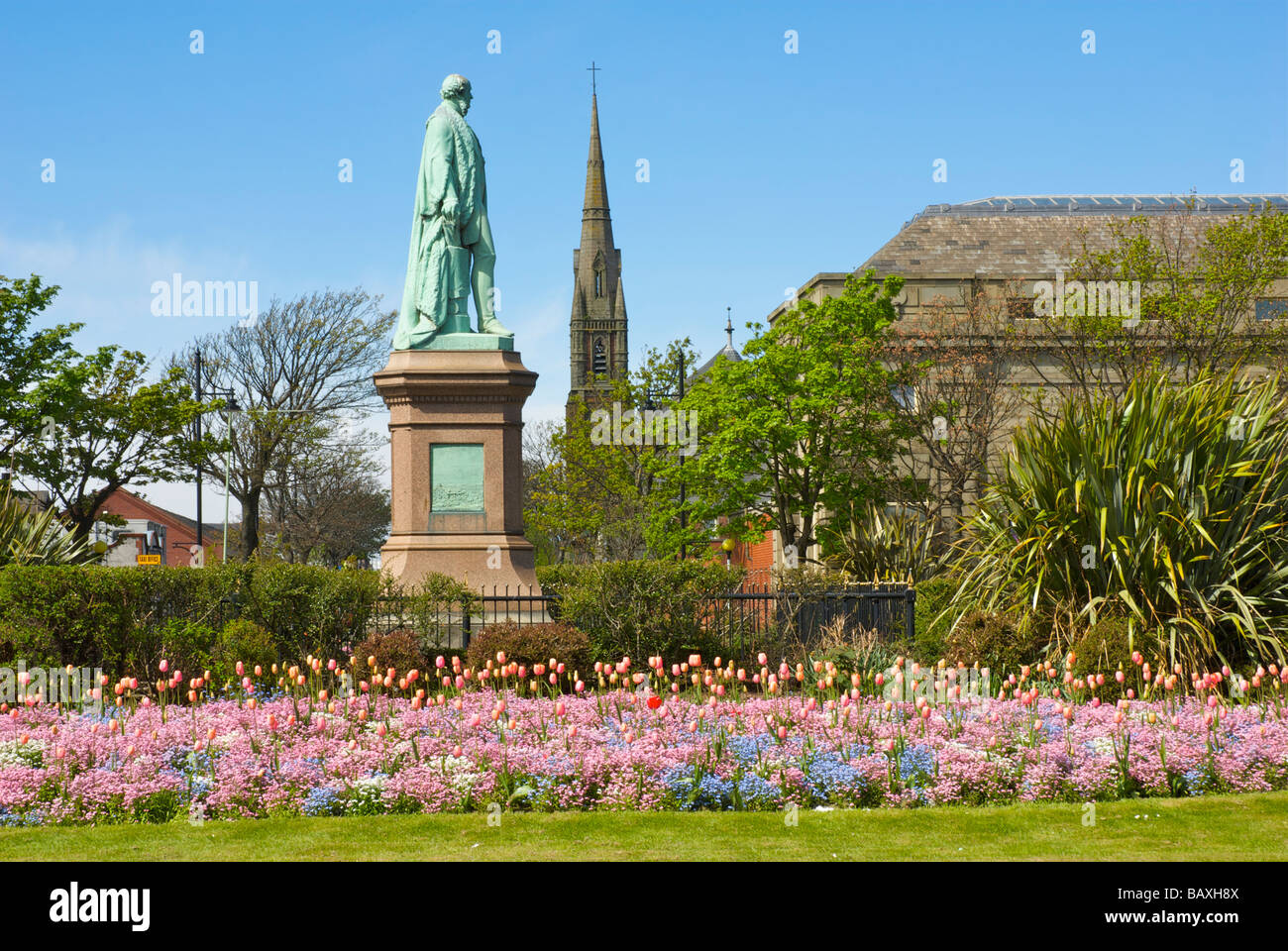 Statue of Sir James Ramsden in Ramsden Square, Barrow-in-Furness, Cumbria, England UK Stock Photo