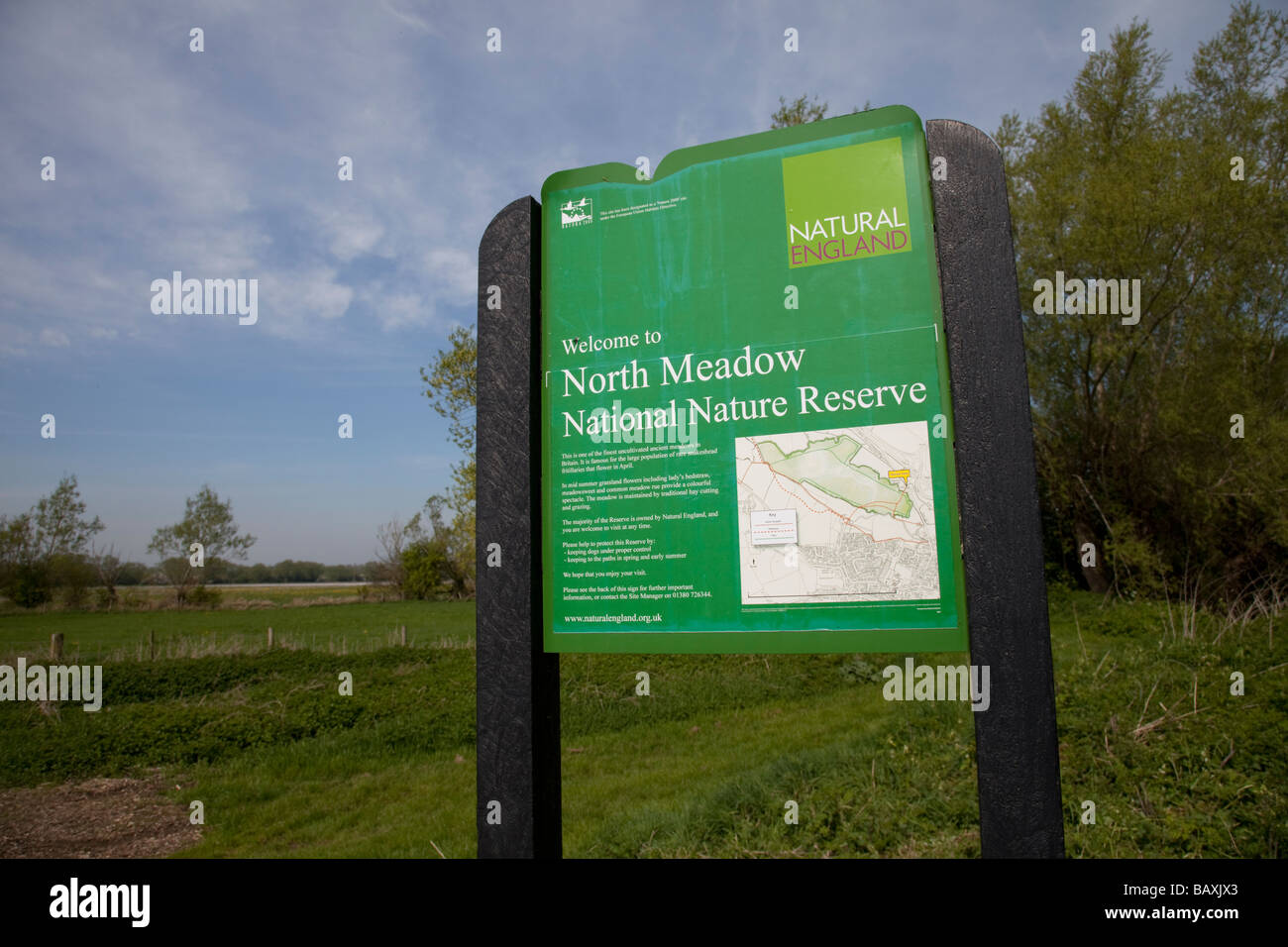 Signboard at North Meadow SSI fritillary reserve Cricklade Wiltshire UK - Stock Image