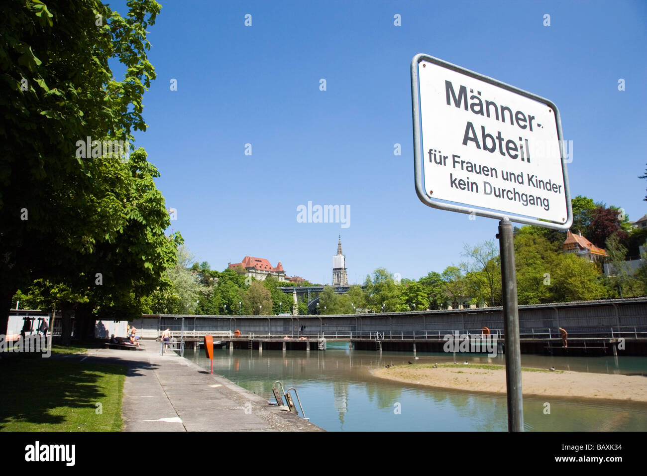 Marzili open-air pool, Male pool, Aare, Old City of Berne, Berne, Switzerland - Stock Image
