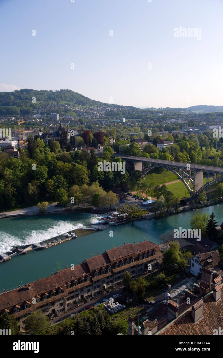 The river Aare with Kirchenfeld Bridge, Old City of Berne, Berne, Switzerland - Stock Image