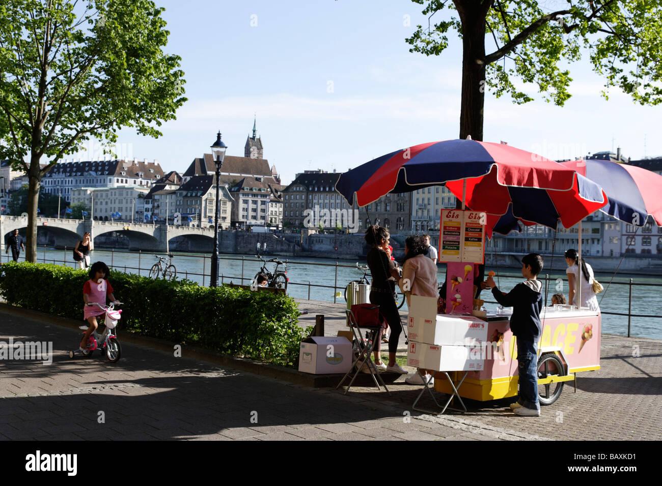 Ice-cream cart along the banks of the River Rhein, Riviera Klein-Basel, Basel, Switzerland - Stock Image