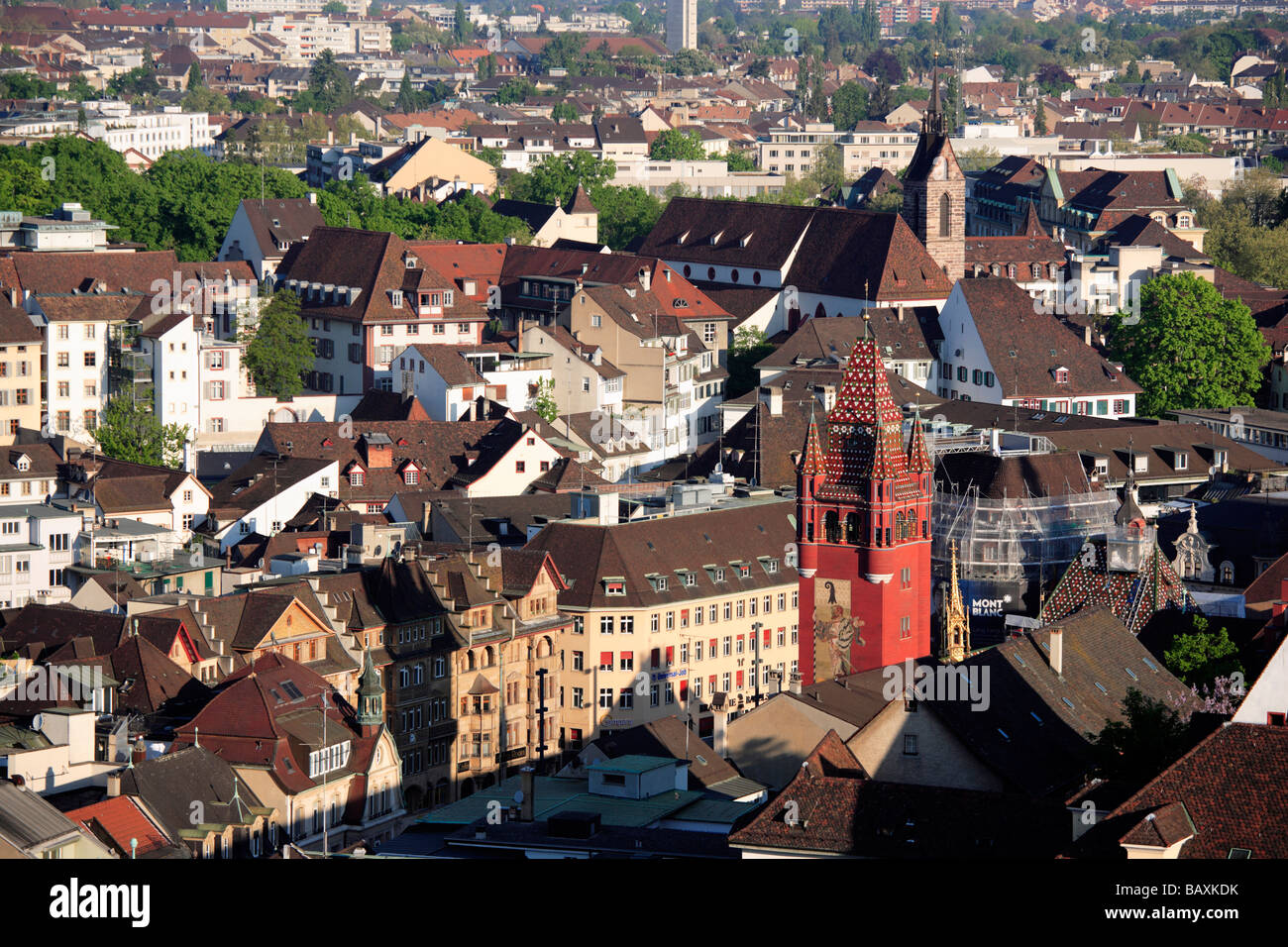 View of the city of Basel with Town Hall, Basel, Switzerland - Stock Image