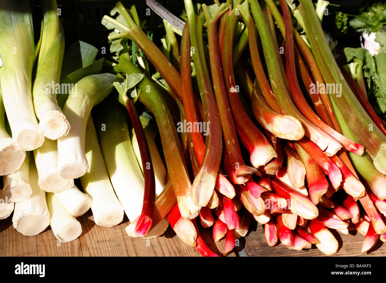 Fresh vegetables and fresh fruit at the market, Marktplatz, Basel, Switzerland - Stock Image