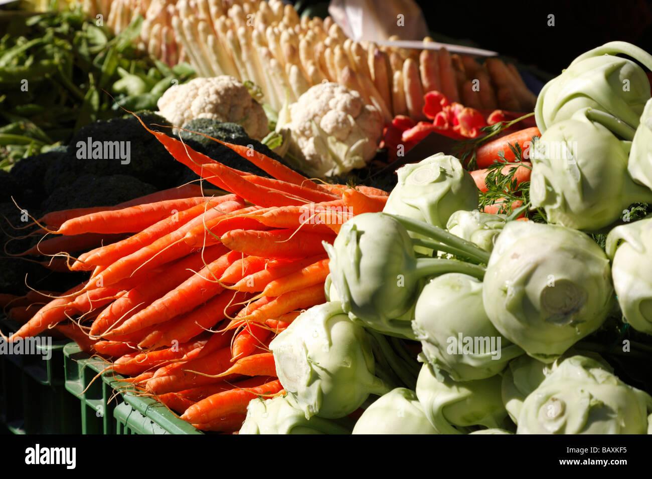 Fresh vegetables at the market, Marktplatz, Basel, Switzerland - Stock Image