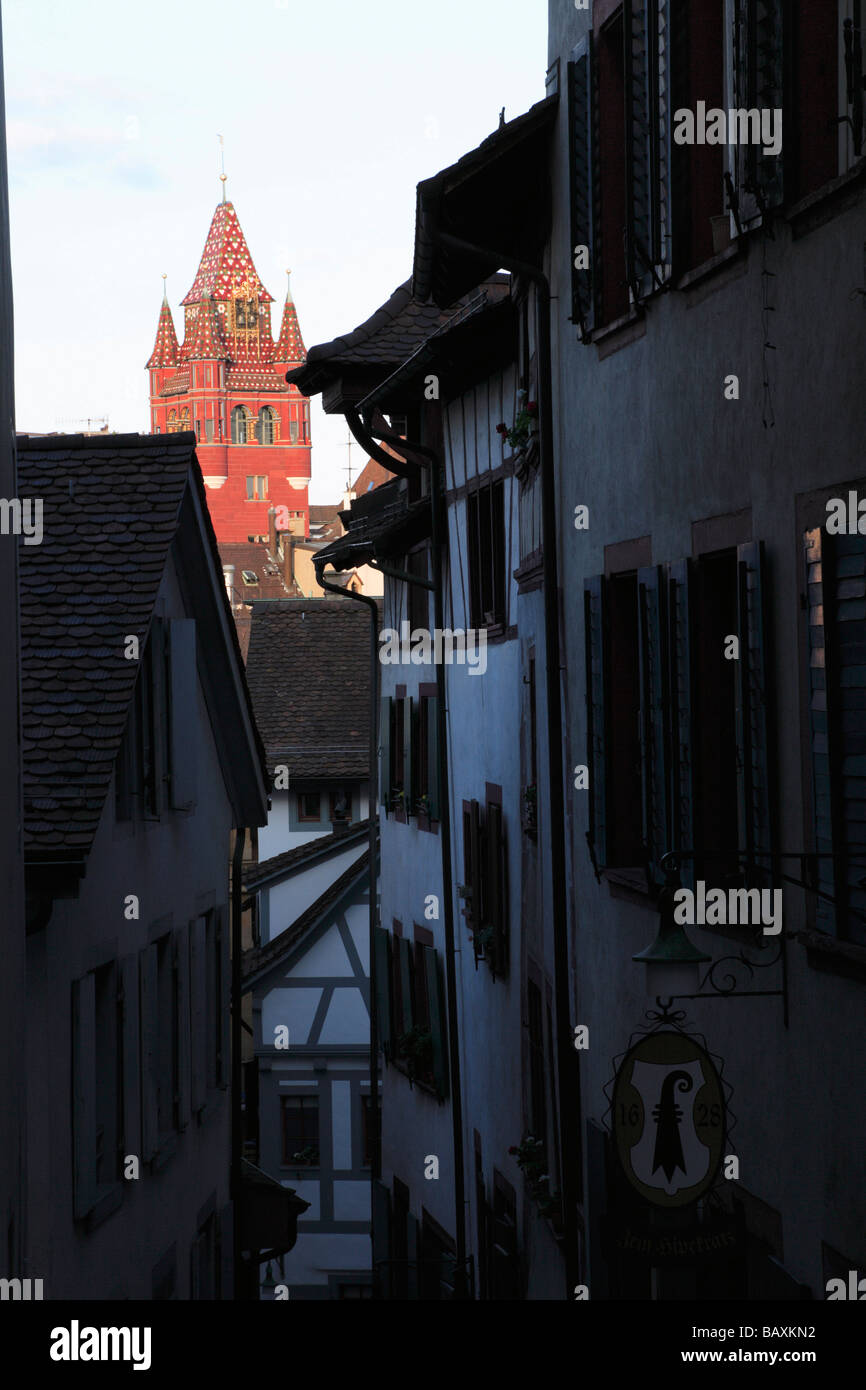 Sign showing the Bishops Crook, the Basel coat of arms, Town Hall in the background, Imberggasse, Basel, Switzerland - Stock Image