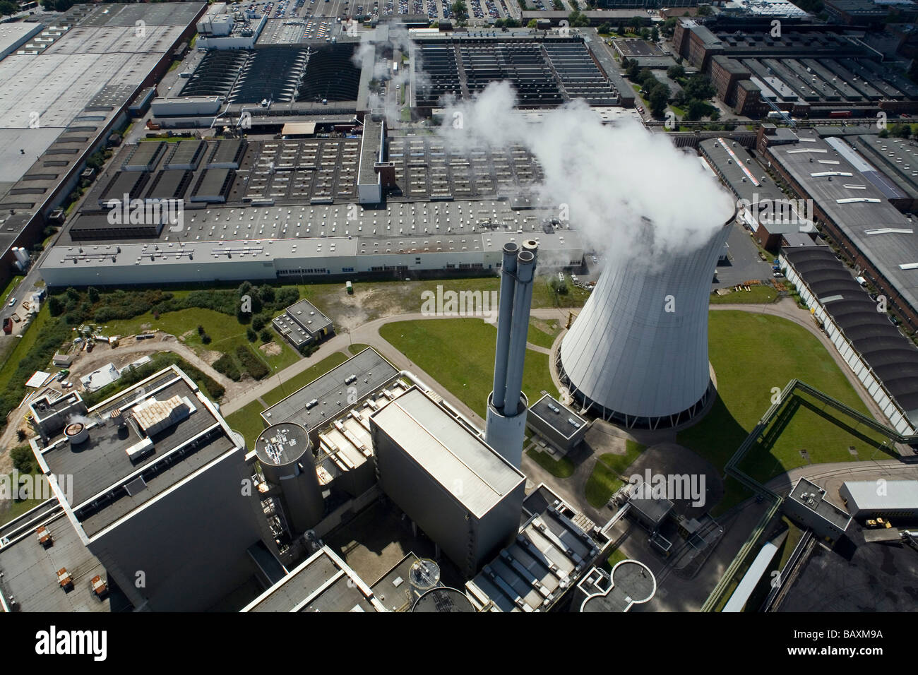 aerial view of Stocken and Volkswagen plant, power plant, Midland Canal, near Hanover, Lower Saxony - Stock Image