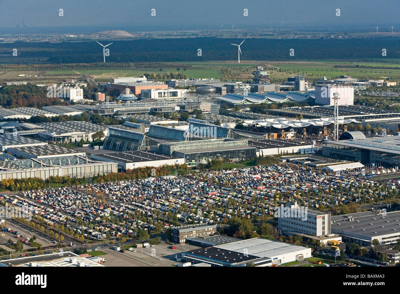 aerial view of thousands of VW vans, at the 60 years of the VW bus on the trade fair grounds in Hanover Laatzen - Stock Image