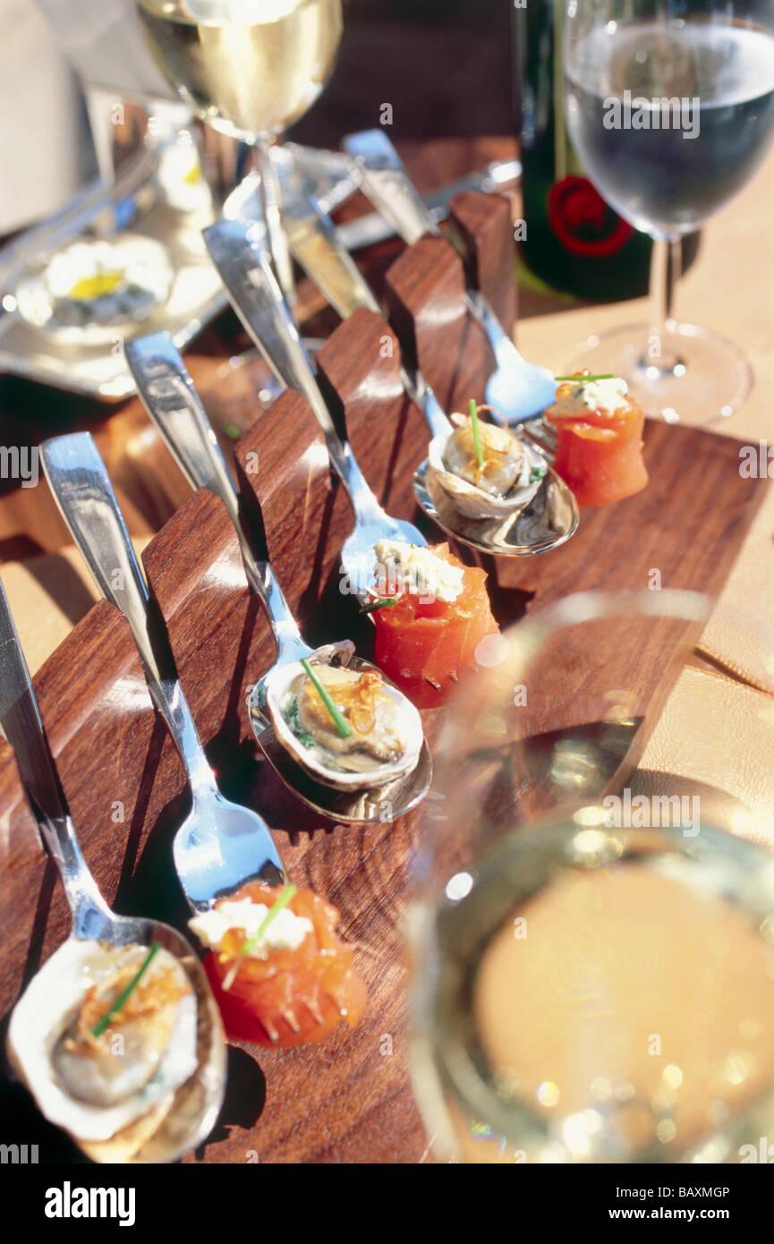 Fancy Foods On Spoon In Restaurant Grayz Manhattan New York Usa Stock Photo Alamy