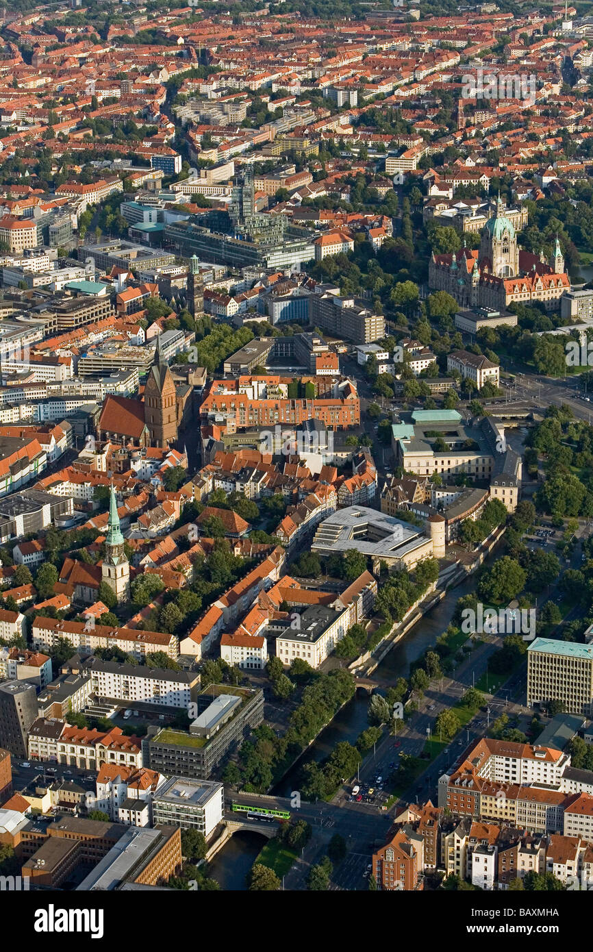 aerial view of Hanover, inner city, New Town Hall, Nord LB, Marktkirche, Lower Saxony, northern Germany - Stock Image
