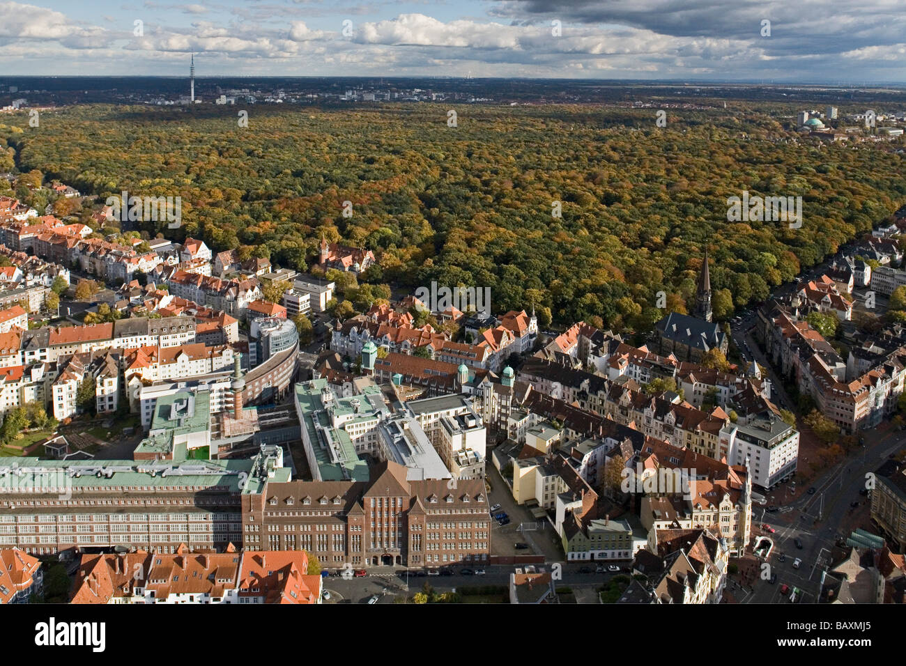 aerial view of Eilenriede city forest and the List and Oststadt neighbourhoods, Bahlsen biscuit buildingHanover, - Stock Image