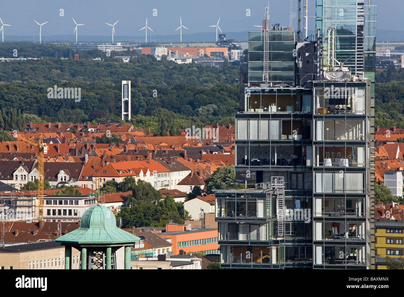 Hanover city centre, with view of the Nord LB Northern German Bank across the roofs of to the green city belt, and - Stock Image