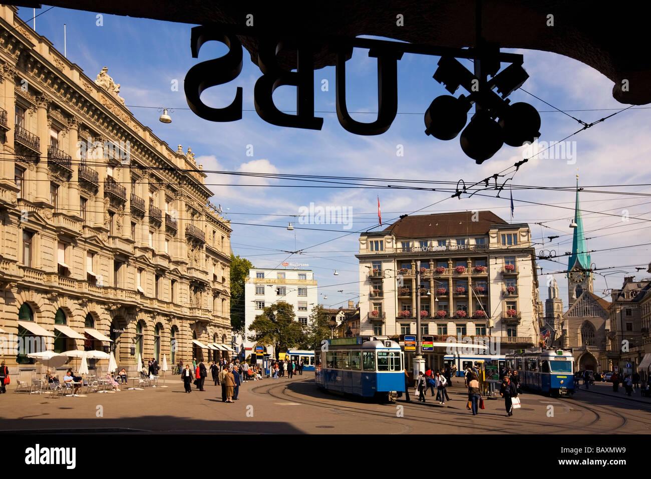 Switzerland, Zurich, Paradeplatz, UBS Logo, Credit Suisse, Tram - Stock Image