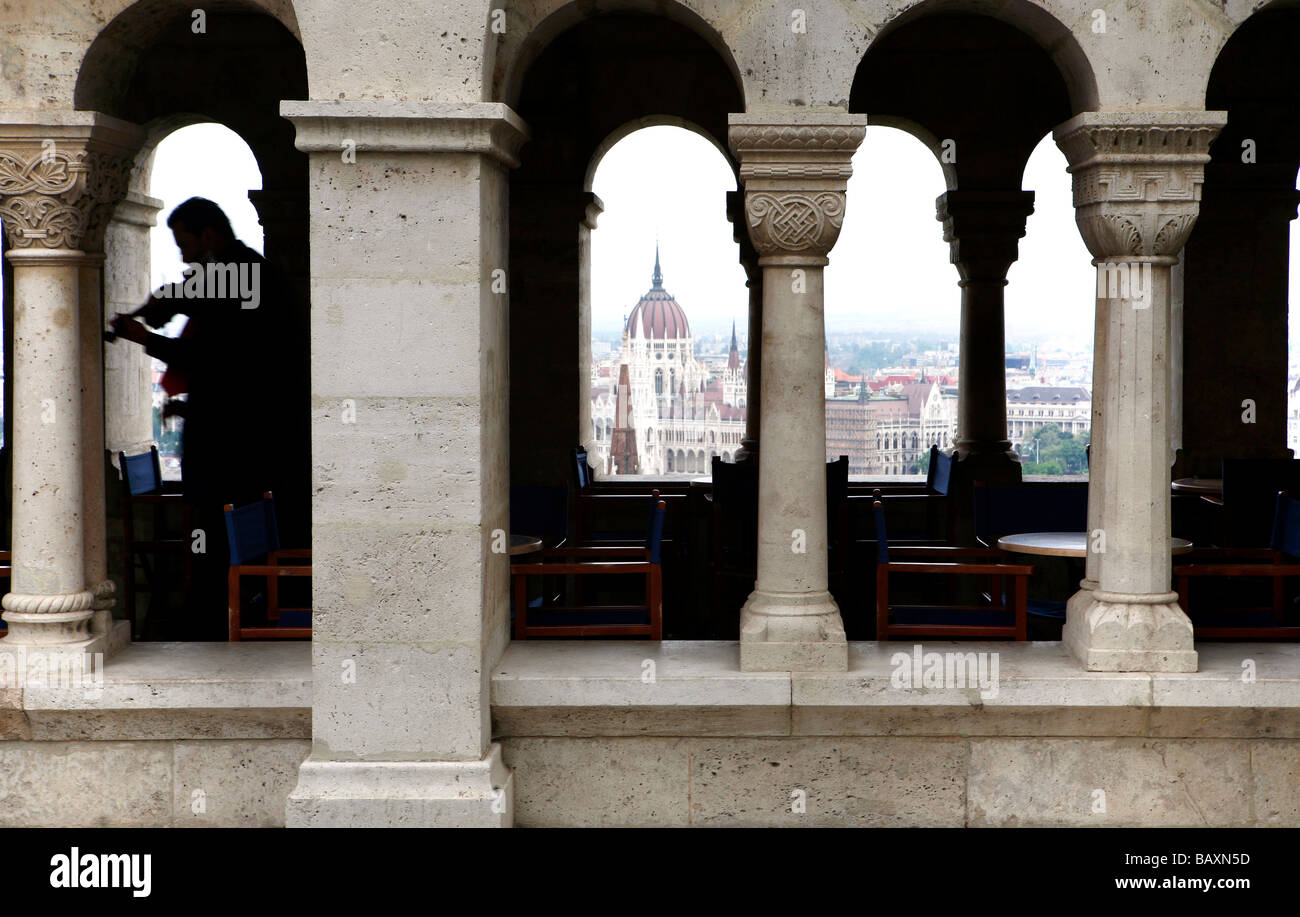 Haunting Hungarian Violin, Fisherman's Bastion, Budapest, Hungary - Stock Image