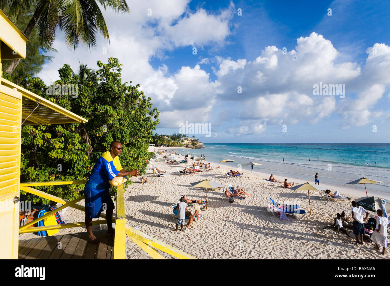 Lifequard observing Accra Beach, Rockley, Barbados, Caribbean - Stock Image