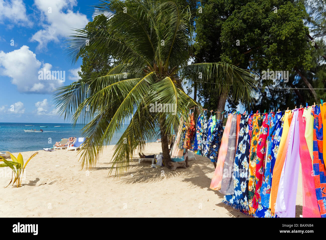 Souvenir stall at beach, Speightstown, Barbados, Caribbean - Stock Image