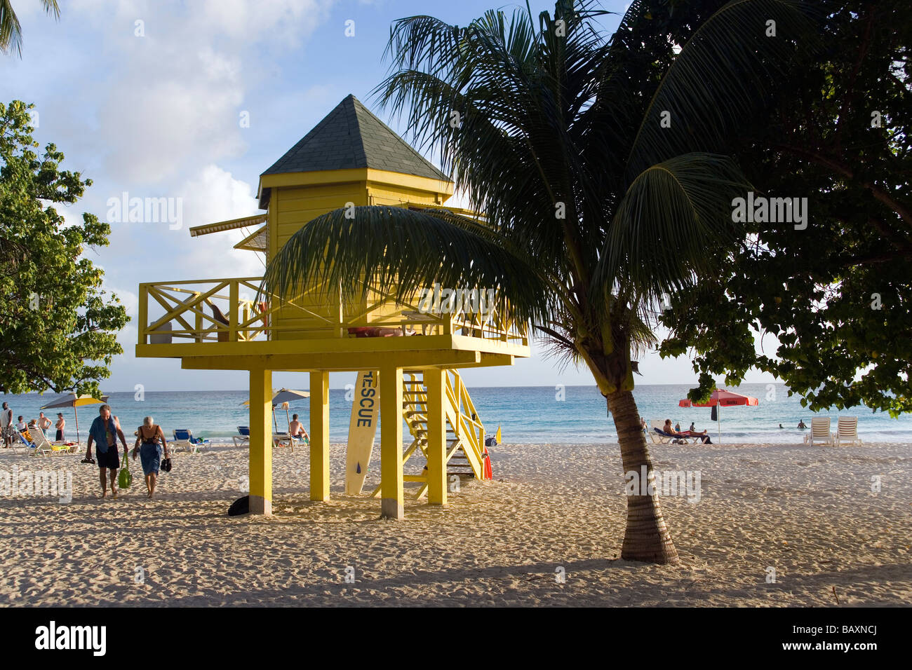 Watch tower at Accra Beach, Rockley, Barbados, Caribbean - Stock Image