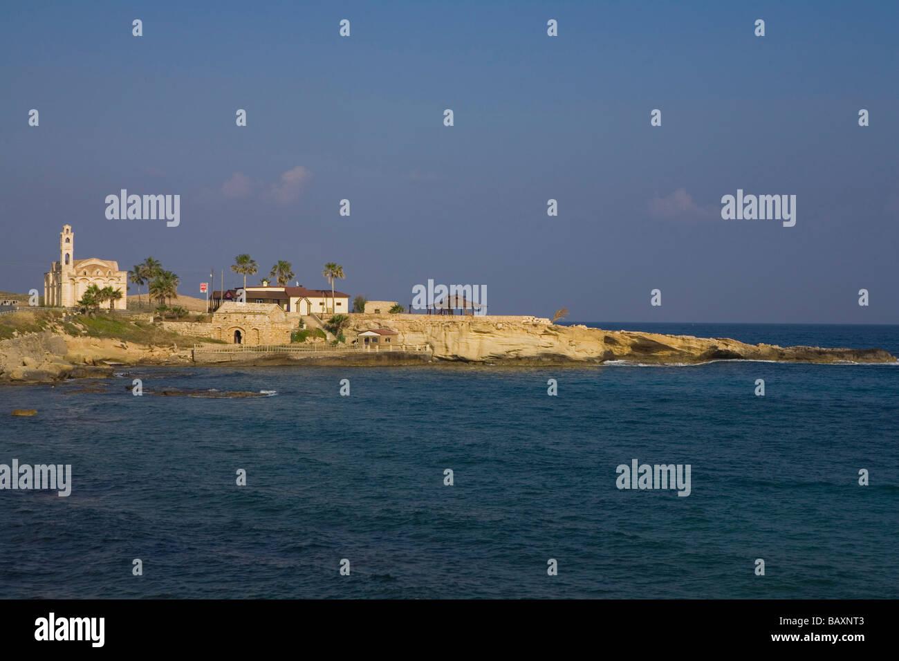 Agios Thyrsos, church along the coast near Erenkoy, near Gialousa, North Cyprus, Cyprus Stock Photo