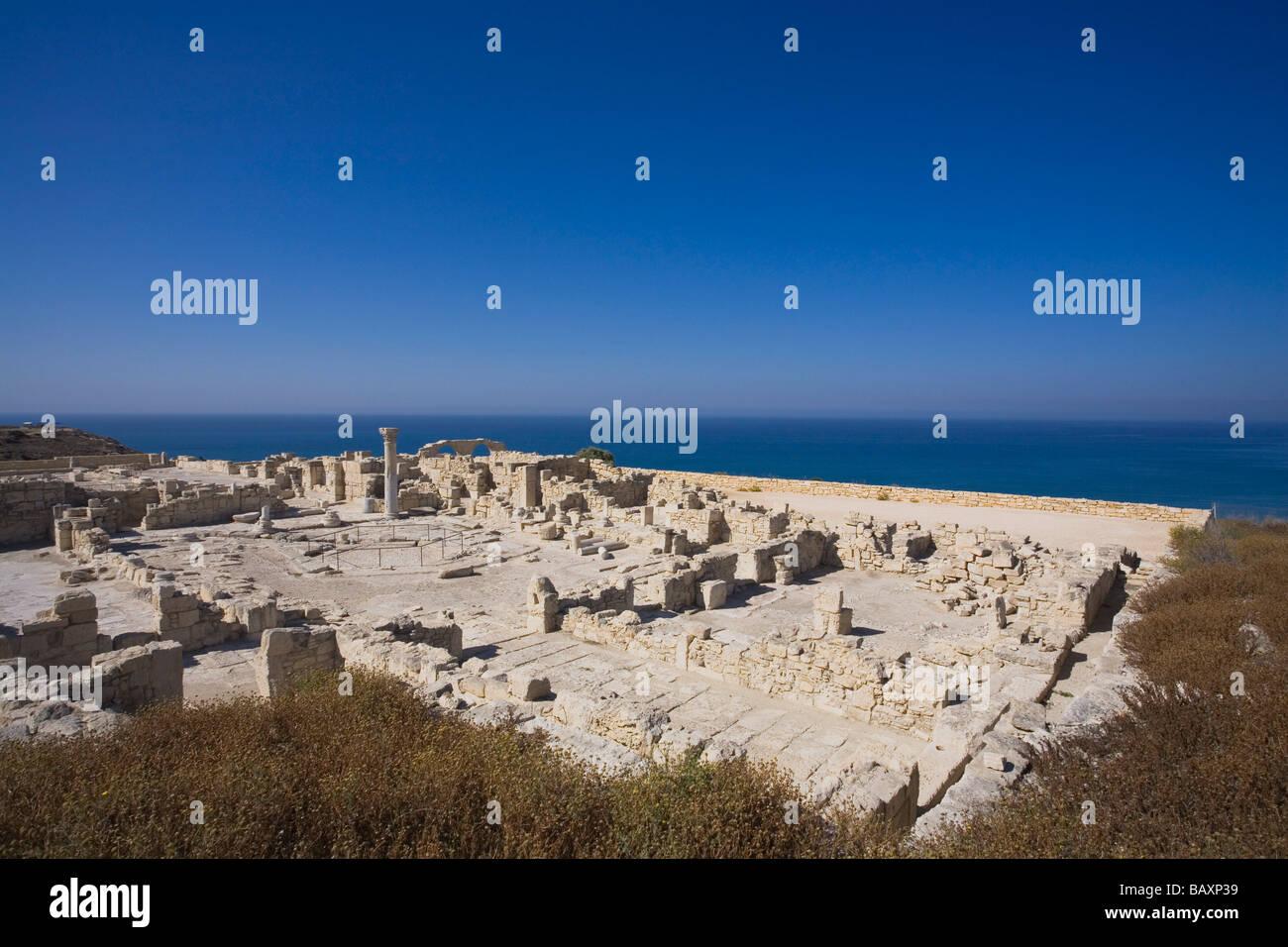 Ruins of an early Christian Basilica, ancient city of Kourion, Kourion, South Cyprus, Cyprus - Stock Image