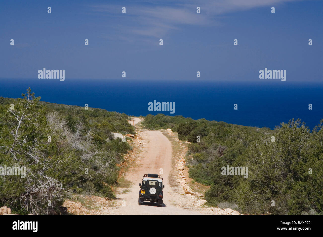 Jalos Activ Land Rover tour, Offroad, Akamas Nature Reserve Park, South Cyprus, Cyprus - Stock Image