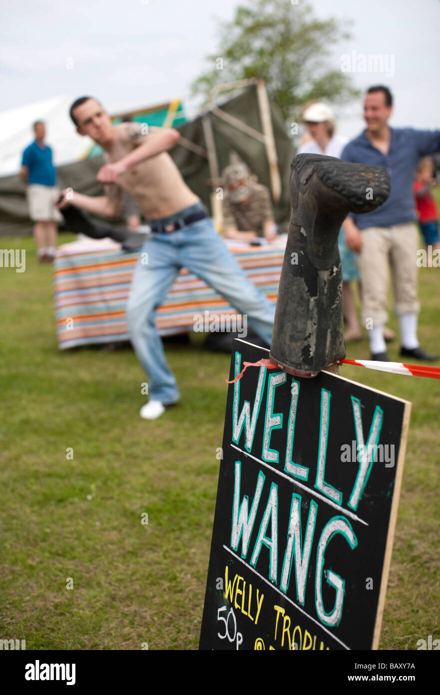 Welly wanging A village fete in rural england - Randwick, Stroud, Gloucestershire, UK Stock Photo