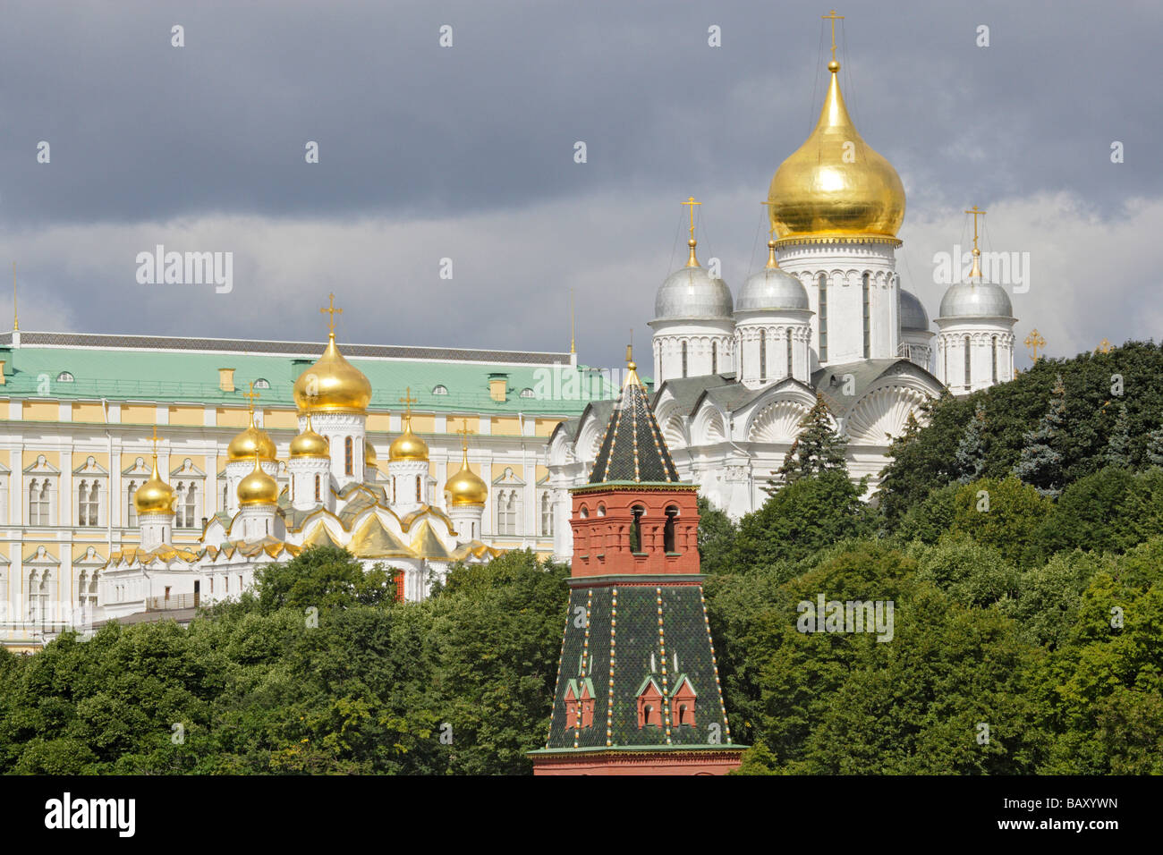 A riverside view of the Kremlin from left to right, Grand Kremlin Palace, Cathedral of the Annunciation, Cathedral - Stock Image