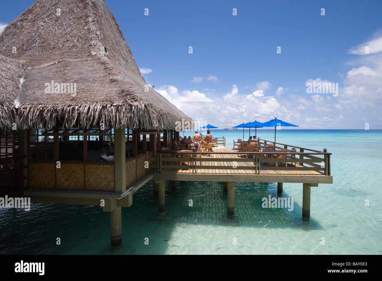 Bar of Hotel Kia Ora, Avatoru, Rangiroa, The Tuamotus, French Polynesia - Stock Image